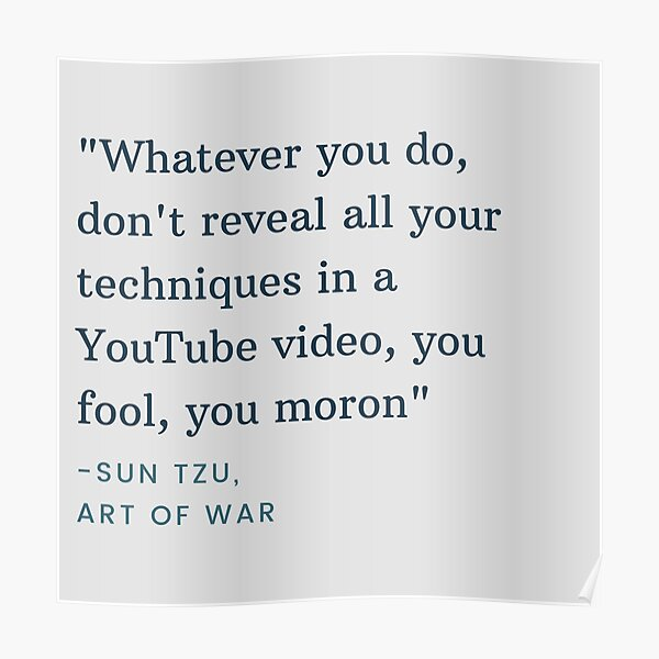 Sun Tzu art of war quote from technoblade's video Poster RB0206 product Offical Technoblade Merch